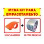 Mega Kit 10 Aplicadores + Fita Adesiva Durex Larga Embalagem