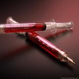 Caneta Esferográfica Em Forma De Seringa Vermelha