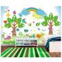 Papel De Parede Infantil Animais Jardim Floresta Mural M10