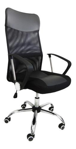 Cadeira De Escritório Pelegrin 8009 Ergonômica Preta Con Estofado Do Couro Sintético