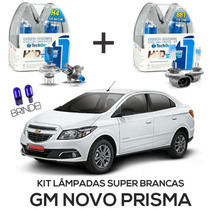 Kit Lâmpadas Super Brancas Tech One Gm Novo Prisma H4 + H27