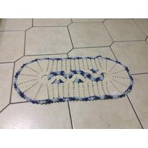 Tapete Barbante - Branco E Azul - 41x86cm
