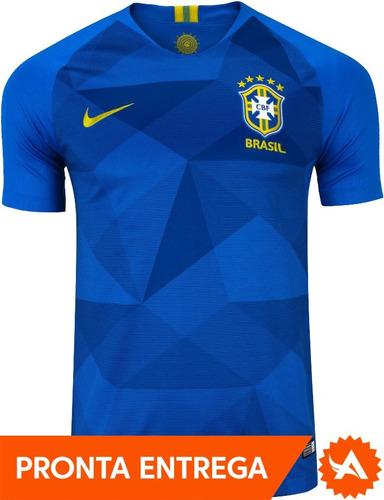d87ff1d723 Camisa Oficial Seleção Brasil Nike Azul 2018 Away - Original - R ...