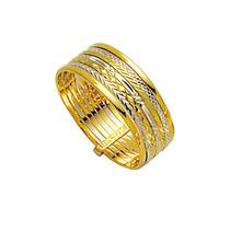 Aliança De Ouro Amarelo E Ouro Branco 18k 750 Largura 7.0