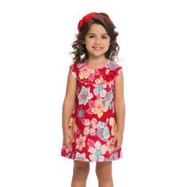 Vestido Infantil Em Malha Florido Vermelho Trapézio Loopy L