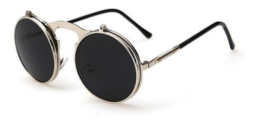 3c2801373 Óculos Redondo Sol Lente Flip Dupla E Grau Retrô Steampunk