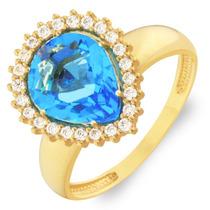 Anel De Ouro 18k Princesa Pedra Azul Água Marinho Sintética