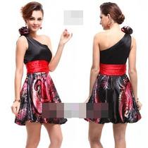 Vestido Curto Preto Com Vermelho Em Cetim