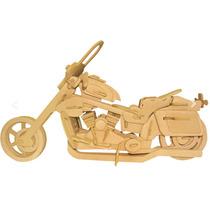 Moto Brinquedo De Madeira Quebra Cabeça 3d Wamboo