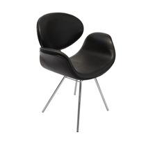 Cadeira Tulipa Base Fixa Cromada - Preta - Vinil