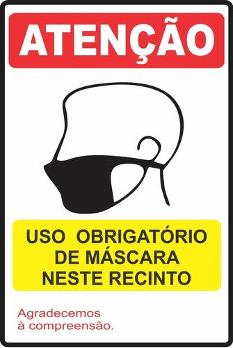 Adesivo Empresas Placa Uso Obrigatório De Mascara 60x40cm