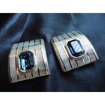 Lindos,refinados Brincos Metal/cristais Tchecos Azuis,déc80