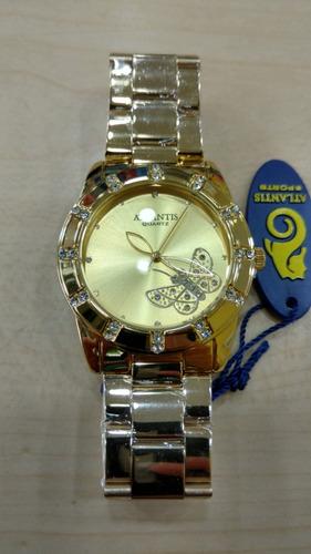 715d2fcb783 Relógio Atlantis Dourado Original - Lançamentos Frete Grati - R  129 ...
