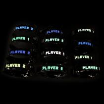 Par De Alianças Em Prata - Player 1 / Player 2 - 1234 Glow