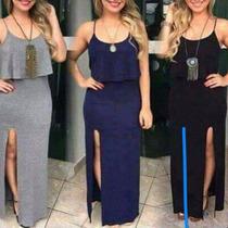 Vestido Longo Aberto Meia Perna Moda Viscose Tipo Saia/blusa