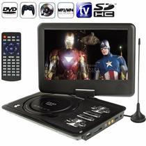 Dvd Portatil Multimidia Tv 9 Tela Lcd Cd Sd Usb Fm 300 Jogos