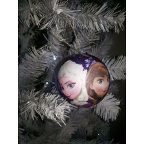 Bola De Natal Frozen 8cm + Laços Rosa ( 24 Unidades)