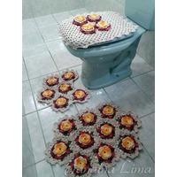 Jogo De Tapetes Banheiro Crochê 3 Peças Frete Grátis