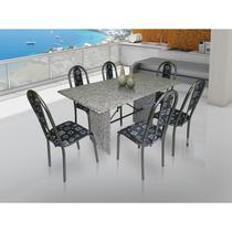 Conjunto De Mesa Movita Tampo Em Granito E 6 Cadeiras Preto