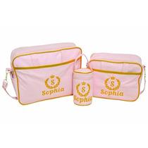 Kit Bolsa Maternidade Personalizada Rosa Com Dourado 3 Peças