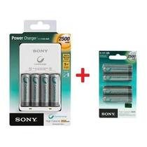 Kit Carregador Sony + 8 Pilhas Aa + 4 Aaa Recarregáveis