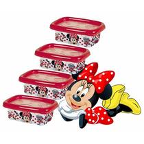 Conjunto C/4 Potes Multiuso Minnie De Alimentos 300ml 5851