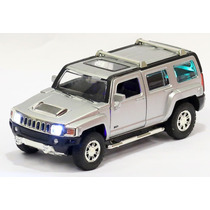 Miniatura Hummer H3 2007 Prata Com Luz E Som