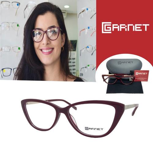 eb28e3011 Armação Garnet Óculos Lente P/ Grau Fashion Acetato Marsala