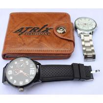 Kit 2 Relógios + 1 Carteira