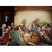 Quadro Santa Ceia Pintura Sacra Óleo Sobre Tela 90x60cm