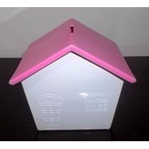 25 Casinhas Cofre Em Plastico Branco Com Telhado Rosa