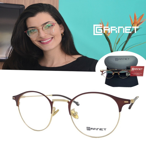 245b60777 Armação Garnet Óculos Lente P/ Grau Redondo Dourado Marrom