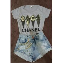 T-shirts Blusas Baby Look Feminina Estampa - Tamanhos P