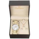 Relógio Champion Feminino Cn29909w -  Kit Colar E Brincos
