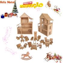 Casa Casinha Boneca Polly +cavalinho Balanço Cru+ 27 Moveis