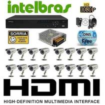 Kit Cftv 16 Cam 1000l Dvr 16 Intelbras 3116 Fonte Bnc P4
