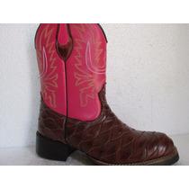 Bota Botina Texana Country Escamada Côr Pinhão Rosa