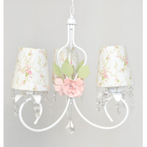 Lustre Luminaria Flor Menina 3 Cupulas Cristal Provensal
