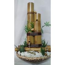 Fonte Agua 4 Bambu Cerâmica Pedras Bombinha - Completa