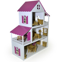 Casa Para Boneca Polly Grande - 80x40x60 Mobiliada