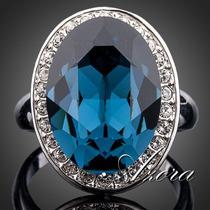 Anel Platinado Com Cristal Austríaco Azul