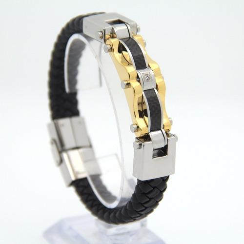 cf36f6897e061 Pulseira Bracelete Masculina Couro Banhada Ouro 18k Luxuosa - R  122 ...