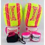 Kit Feminino Boxe Muay Thai Luva 12 + Bandagem + Bucal Rosa
