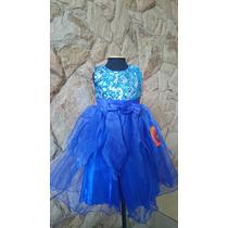Vestido Infantil Festa Azul Royal Com Paetês