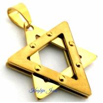 Pingente Estrela Davi Salomão Grande Aço Inox Banhado Ouro