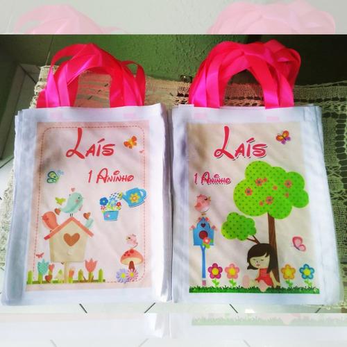afebfc766 Kit 15 Bolsinhas Ecobag Saco Personalizadas Jardim Encantado
