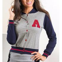 Jaqueta Feminina Baseball Com Capuz Cinza College