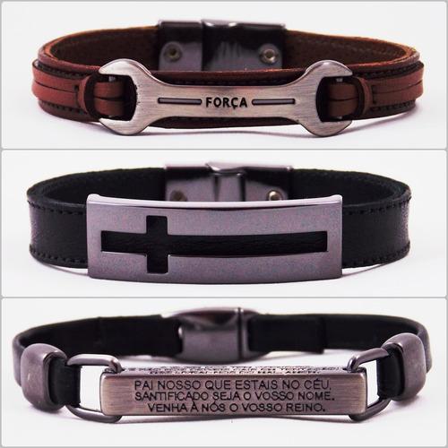 99b0df13f82 Kit 30 Pulseiras De Couro Legítimo Bracelete Masculino Luxo. R$ 359.9