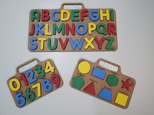 Brinquedo Pedagogico Educativo Kit Alfabeto Números Formas