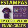 Estampas Premium Em Corel Vetor Camisas Artes Sublimação